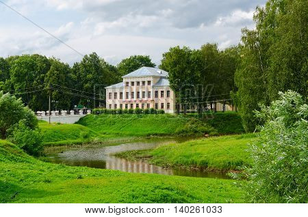 House of governor (building of former City Duma) and Cathedral (St. Nicholas) bridge in park Uglich Golden Ring of Russia