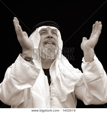 Black And White Portrait - The Prayerful Sheik