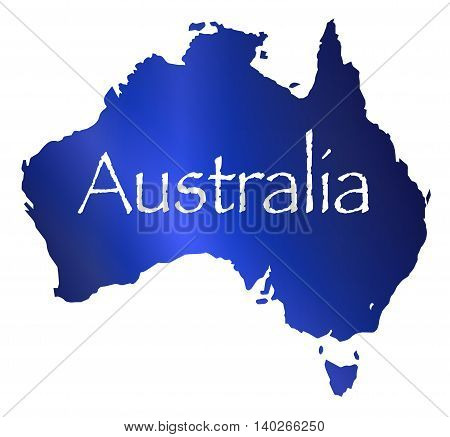 Silhouette map of Australia in blue over a white background