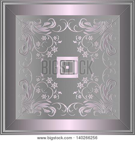 Platinum symmetrical floral vintage decor on a light background in frame