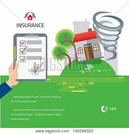 Home and house insurance. Tornado swirl damages village house roof vector illustration in flat style
