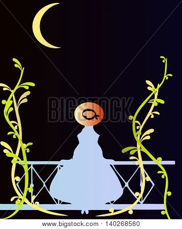 silhouette of a girl in a white dress with a hat on his head standing on the balcony with climbing plants at night with the month in the sky