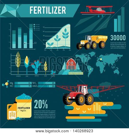 modern red tractor in the agricultural field infogra infographic, crop duster spraying agricultural chemicals pesticide a farm field. Vector Illustration.
