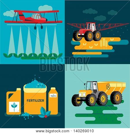 modern red tractor in the agricultural field crop duster spraying agricultural chemicals pesticide a farm field. Vector Illustration.