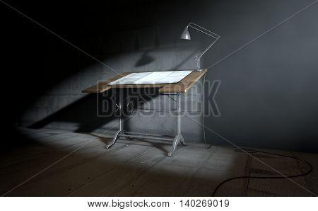 Drafting Desk Lamp And Paper