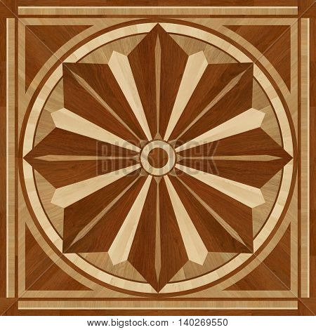 Medallion design parquet floor wooden seamless texture for 3D interior