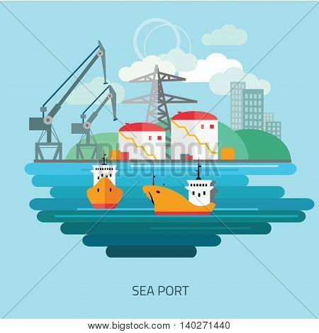 Container cargo ship loaded by harbor crane in the town port dock. Naval transportation concept. Vector flat style illustration.