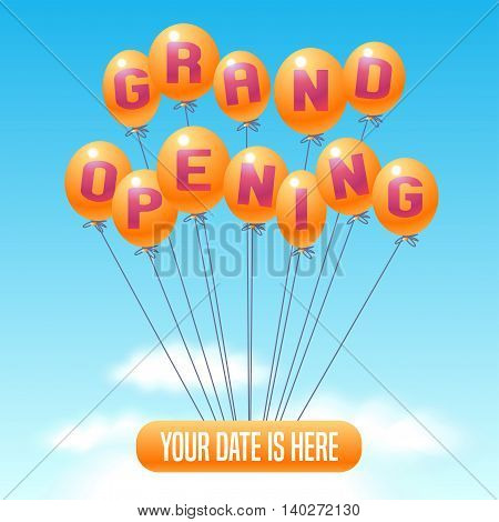 Grand opening vector illustration background for new store club etc with balloons. Template poster banner flyer design element for opening event