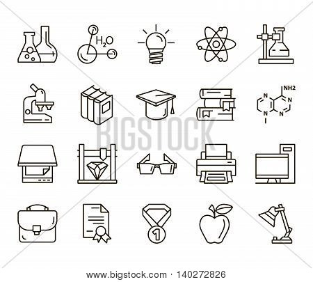 Chemistry. Back to school. Set of linear icons on a white background