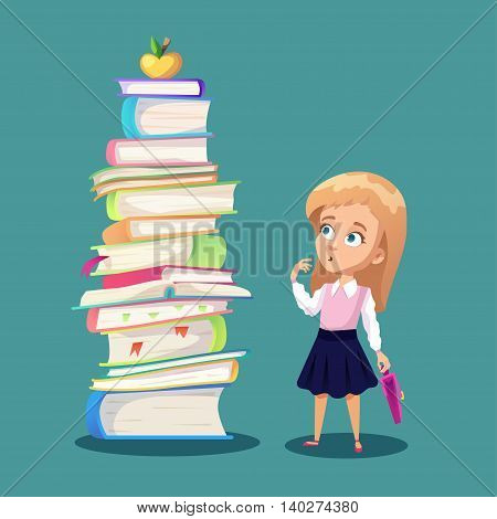 Illustration about schoolkid looking at big pile of books and golden apple. Cartoon funny girl holding backpack.