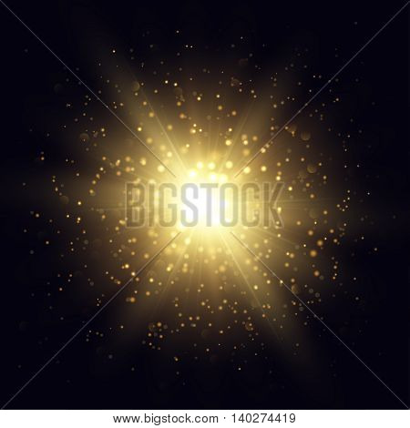 Vector star explosion illustration. Golden flash and sparks on dark background.