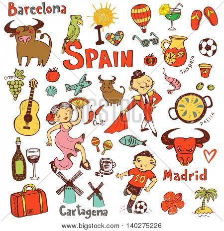 A set of Spain symbols and landmarks, vector illustration.