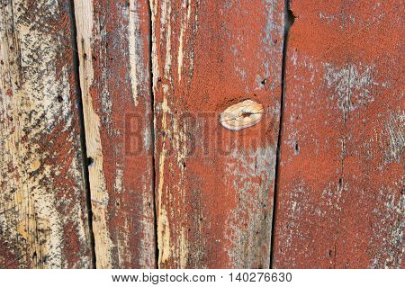 An old, worn, red wooden barn wall.