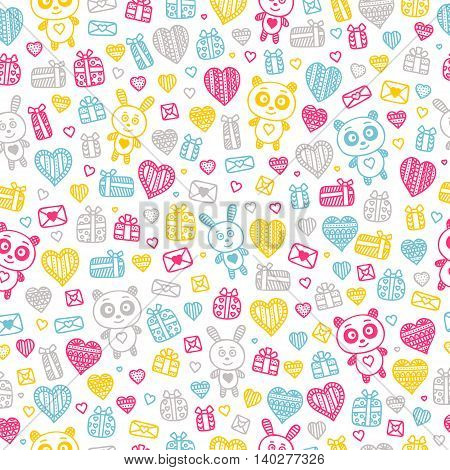 Valentine's day background. Seamless pattern with doodle love heart flower letter panda rabbit gifts.