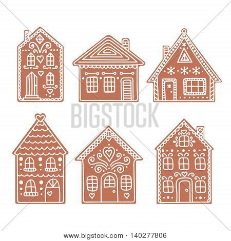 Gingerbread house. Set of vector hand drawn gingerbread houses. Christmas cookies. Brown and white colors.