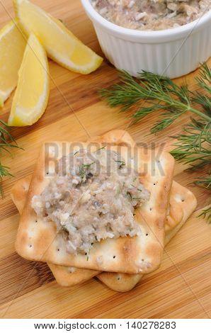 Appetizer of pate herring (forshmak) on a cracker