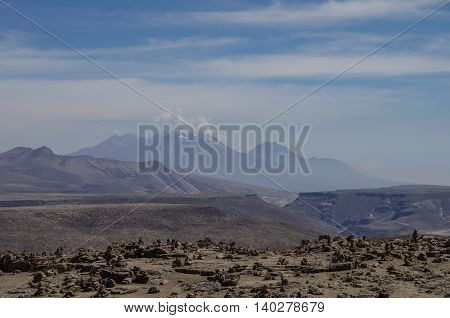 View Of Volcano Near Arequipa From Viewpoint In Altitude 4910 Meters. Andes Mountains, Peru