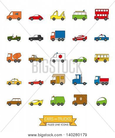 Cars, vans and other motor vehicles color filled line icon set