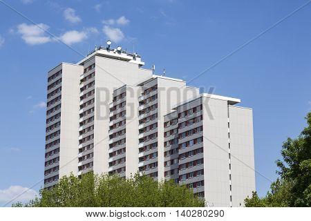 Plattenbau With Blue Sky In East Berlin