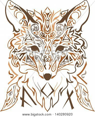 Ornamental tribal style fox isolate on white background. Stylish vector silhouette