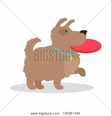 Dog with frisbee vector illustration in flat style. Playing with pet picture for animalistic conceptual banners, web, app, icons, infographics, logotype design. Isolated on white background.