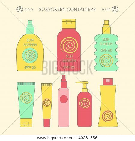 Sunscreen bottle set. vector illustration of lotion plastic container cream packaging for sun screen skin cancer protection spray spf icon poster