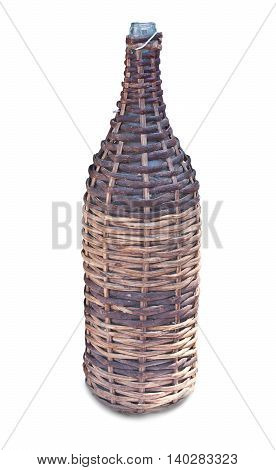 Old Wicker Bottle, Isolated On White Background. Close-up.
