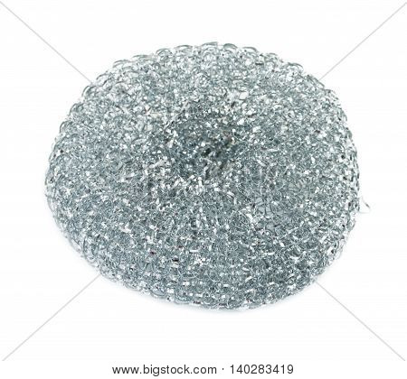 Stainless steel metal sponge to clean the kitchen utensils scourer isolated on white background.