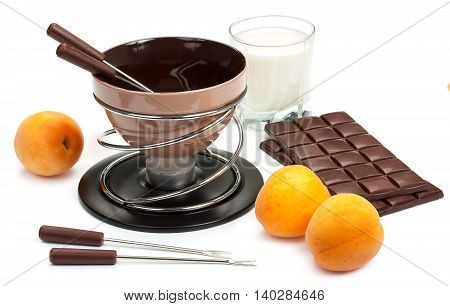 Brown Set For Fondue, For The Preparation Of Chocolate Fondue With Dark Chocolate And Cream, Fruit,