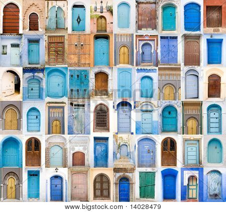 Very old, blue and Golden doors of Morocco