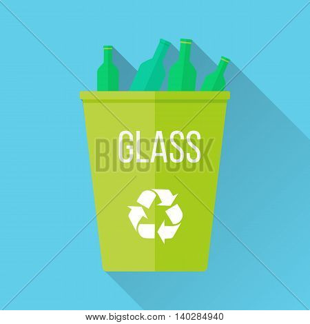 Green recycle garbage bin with glass. Reuse or reduce symbol. Plastic recycle trash can. Trash can icon in flat. Waste recycling. Environmental protection. Vector illustration.