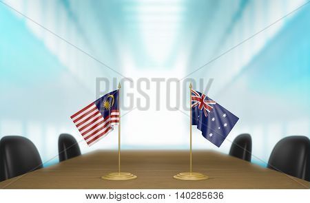 Malaysia and Australia relations and trade deal talks, 3D rendering