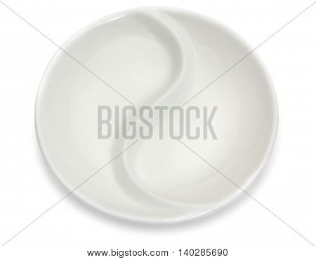 Empty Porcelain Round Compartment Dish Isolated On A White Background