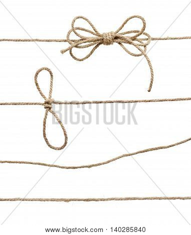 Rope With Knot, With Knot And Bowknot, Isolated On White.