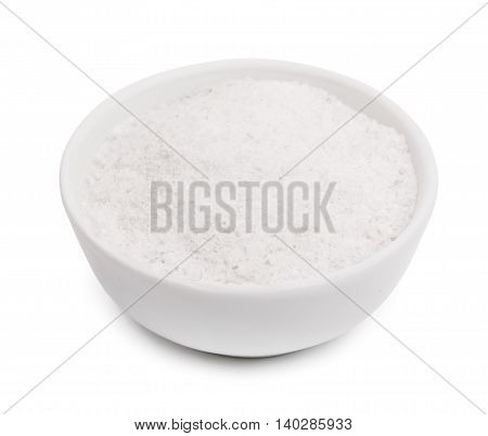 salt in saltcellar isolated on a white background