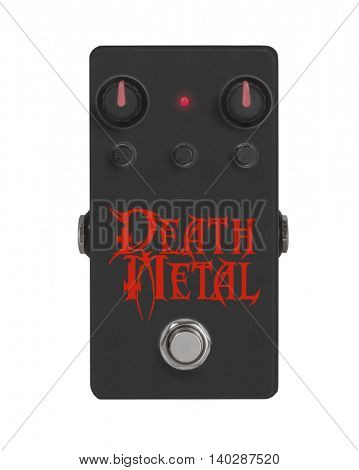 Death Metal concept guitar effect pedal isolated on white
