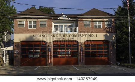 Spring Lake NJ USA -- July 28 2016 Spring Lake NJ Firehouse in the morning with blue sky background. editorial use only