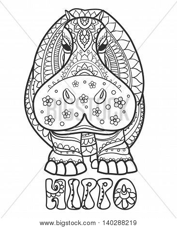Ornament  hippo vector. Beautiful illustration hippopotamus for design, print clothing, stickers, tattoos, Adult Coloring book. Hand drawn animal illustration. Hippo lace ornamental