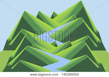 Mountain landscape with river. Green hills, blue river and sky. Modern flat design, design element, vector