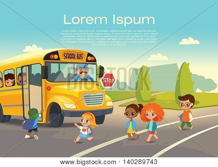 School bus stop. Back To School Safety Concept. Kids riding on school bus. Child boarding school bus. Kids crossing the road. Vector illustration.