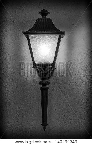 Beautiful street light fixture in classical black and white