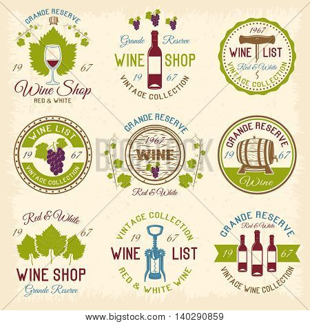 Wine shop colored emblems with red grapes green leaves bottles on beige grunge background isolated vector illustration