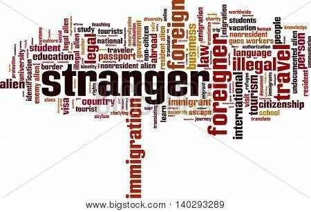 Stranger word cloud concept. Vector illustration on white