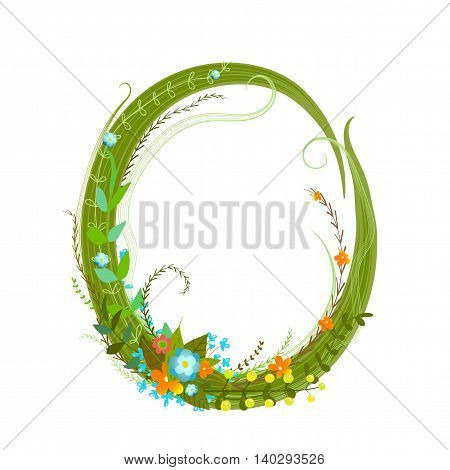Flower intricate ABC sign O. Floral summer colorful intricate calligraphy design lettering element. Vector illustration.