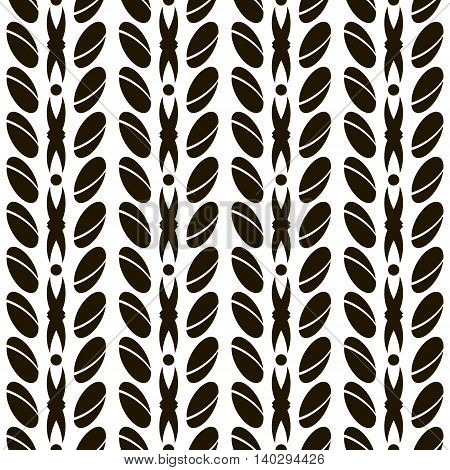 Abstract seamless pattern with large divided ovals. Geometric ornament of roundish elements arranged in vertical rows. Black and white vector illustration for creative design