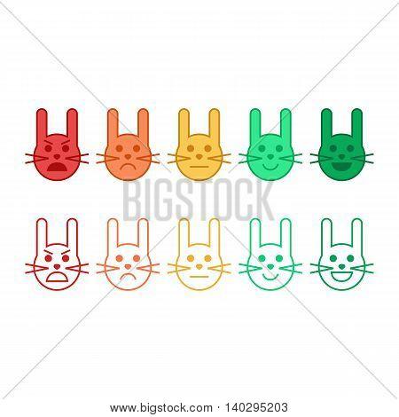 Feedback vector concept rabbit face. Feedback in form of emotions, emoji. User experience. Customer feedback. Review of consumer.