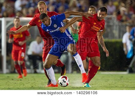 PASADENA, CA - JUNE 4: Ruben Loftus-Cheek, Dejan Lovren, & Ragnar Klavan during the 2016 ICC game between Chelsea & Liverpool on July 27th 2016 at the Rose Bowl in Pasadena, Ca.