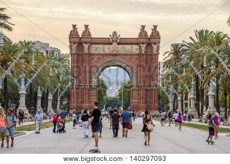 BARCELONA SPAIN - JULY 11 2016: Arc de Triomf at the end of a promenade leading to the Parc de la Ciutadella in Barcelona.