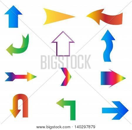 Arrows stickers set isolated on white background
