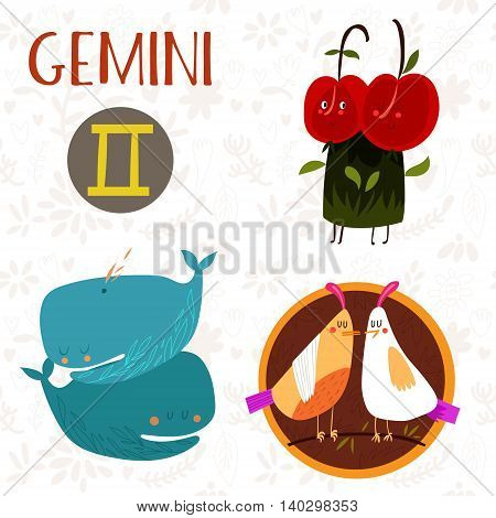 Cute Zodiac Sign-gemini-different  Illustrations  In Cartoon Style. Lovely Design For Adults And Kid